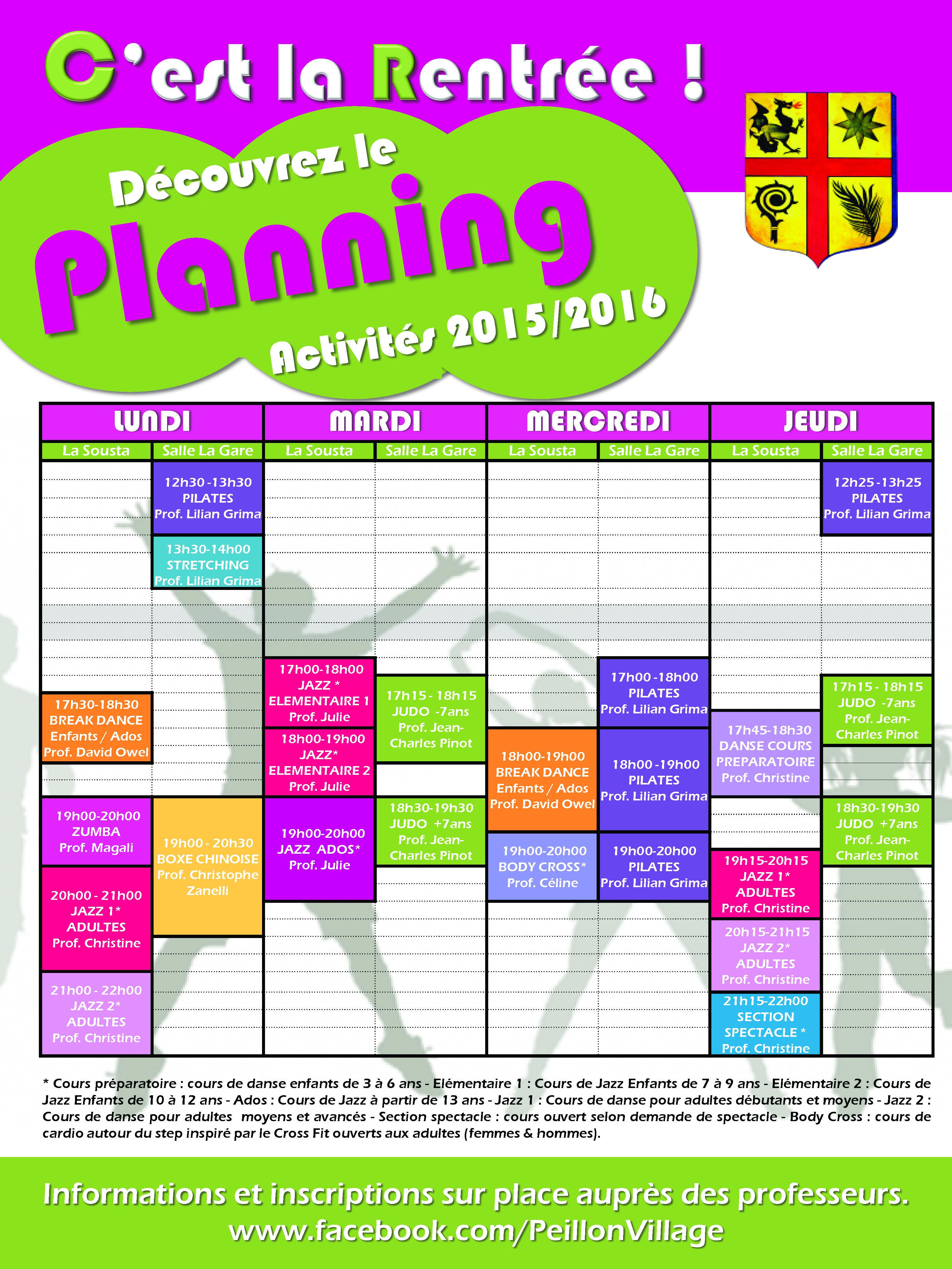 Planning d'Activités